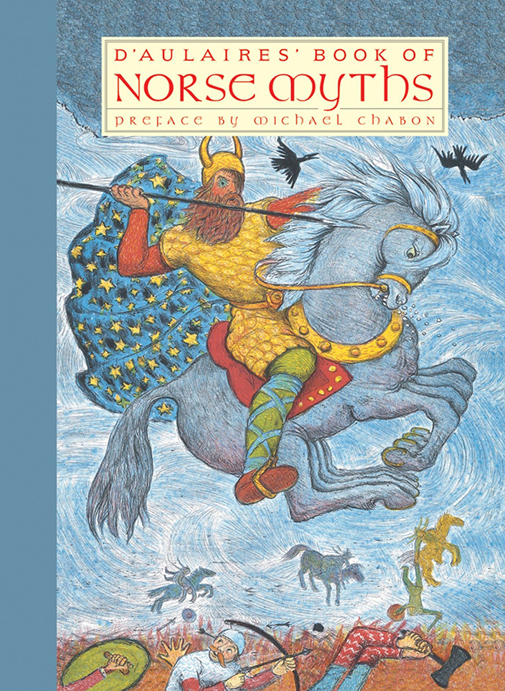 Cover of the d'Aulaires' Book of Norse Myths. Odin rides his horse Sleipnir over a battle field.